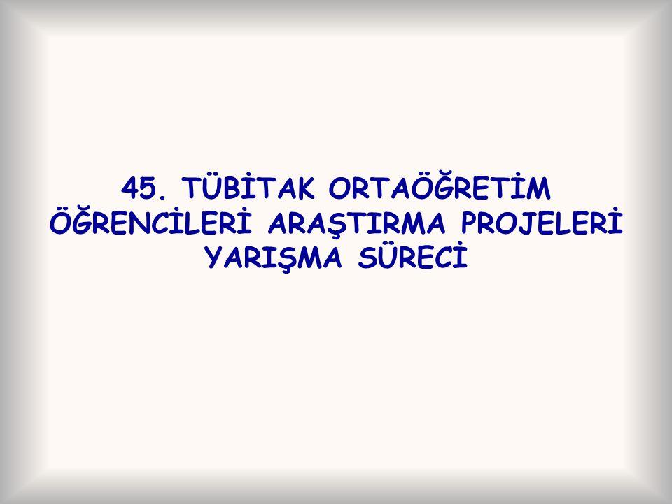 45. TÜBİTAK ORTAÖĞRETİM ÖĞRENCİLERİ ARAŞTIRMA PROJELERİ YARIŞMA SÜRECİ