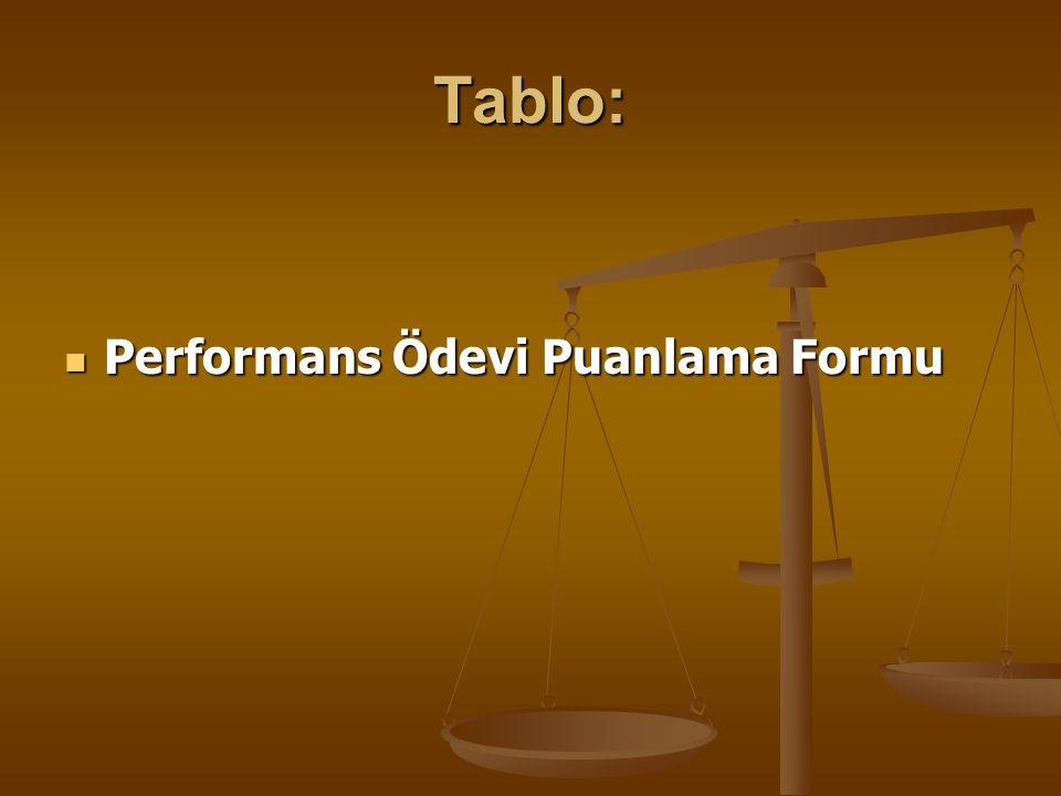 Tablo: Performans Ödevi Puanlama Formu