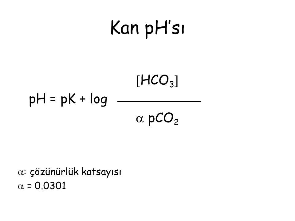 Kan pH'sı HCO3 pH = pK + log  pCO2 : çözünürlük katsayısı