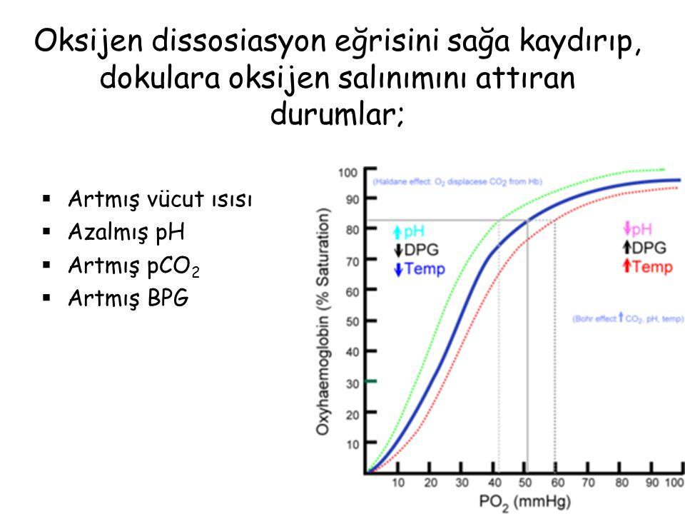 Oksijen dissosiasyon eğrisini sağa kaydırıp, dokulara oksijen salınımını attıran durumlar;