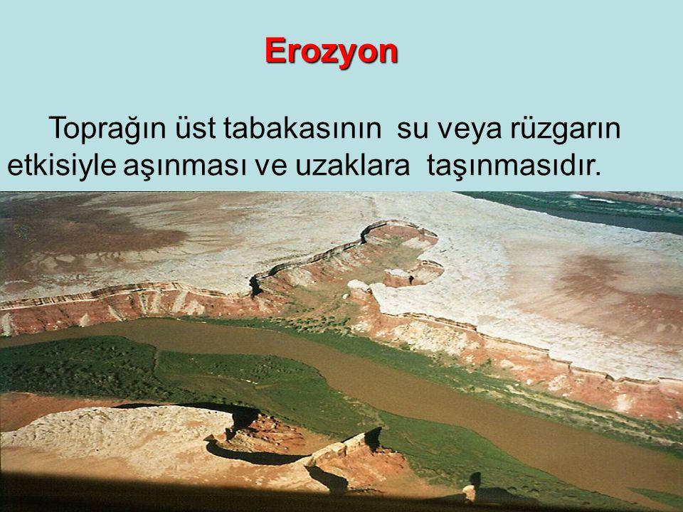 Erozyon Toprağın üst tabakasının su veya rüzgarın etkisiyle aşınması ve uzaklara taşınmasıdır.