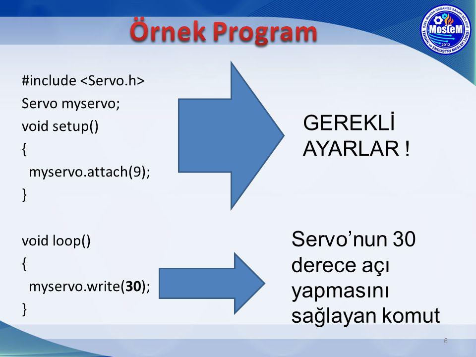Örnek Program GEREKLİ AYARLAR !