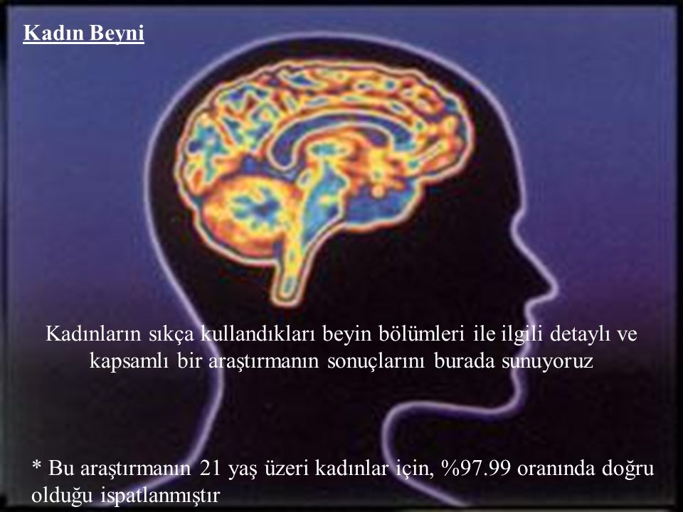 Kadın Beyni Kadınların sıkça kullandıkları beyin bölümleri ile ilgili detaylı ve kapsamlı bir araştırmanın sonuçlarını burada sunuyoruz.