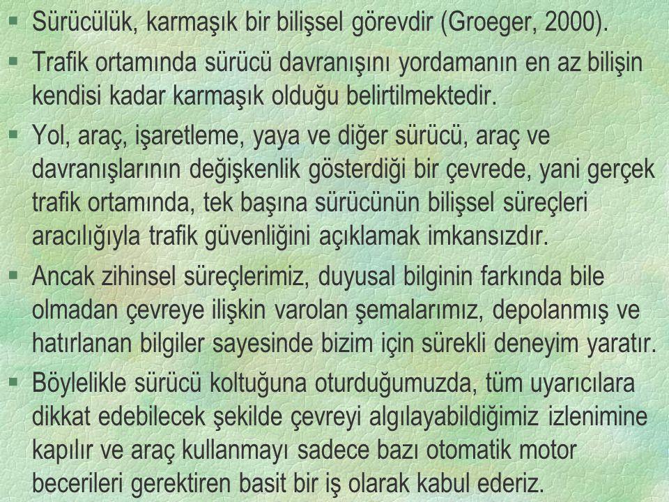 Sürücülük, karmaşık bir bilişsel görevdir (Groeger, 2000).