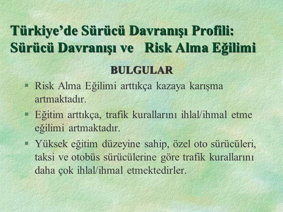 Türkiye'de Sürücü Davranışı Profili: Sürücü Davranışı ve Risk Alma Eğilimi