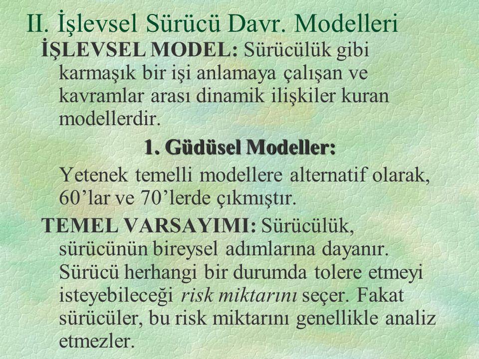 II. İşlevsel Sürücü Davr. Modelleri