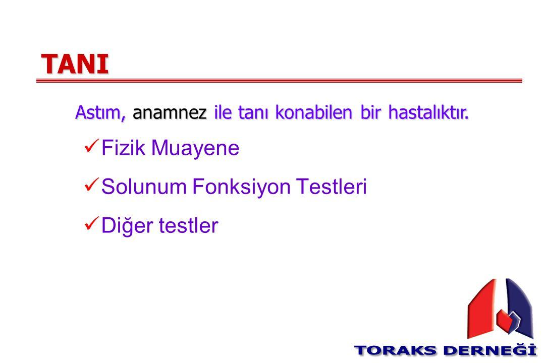 TANI Fizik Muayene Solunum Fonksiyon Testleri Diğer testler