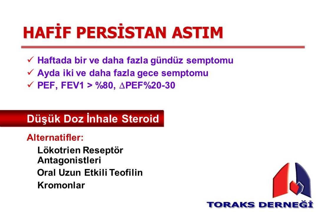 HAFİF PERSİSTAN ASTIM Düşük Doz İnhale Steroid