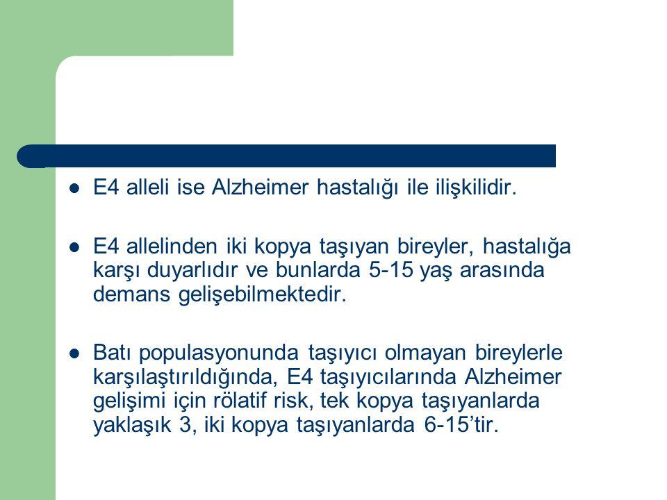 E4 alleli ise Alzheimer hastalığı ile ilişkilidir.