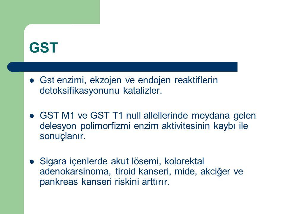 GST Gst enzimi, ekzojen ve endojen reaktiflerin detoksifikasyonunu katalizler.
