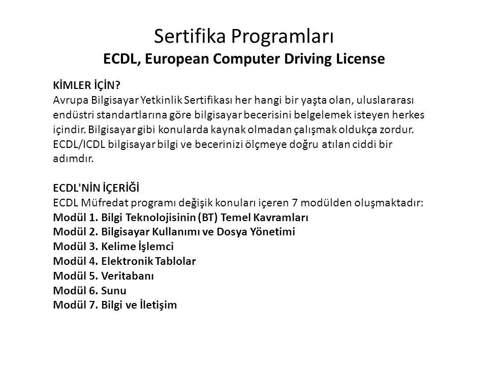 Sertifika Programları ECDL, European Computer Driving License