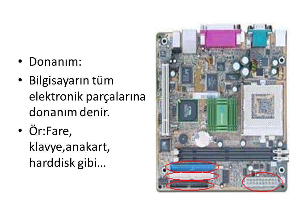 Donanım: Bilgisayarın tüm elektronik parçalarına donanım denir.