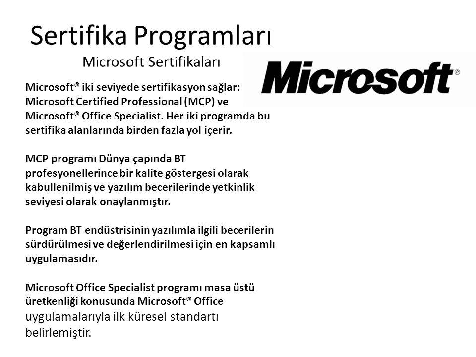 Sertifika Programları Microsoft Sertifikaları