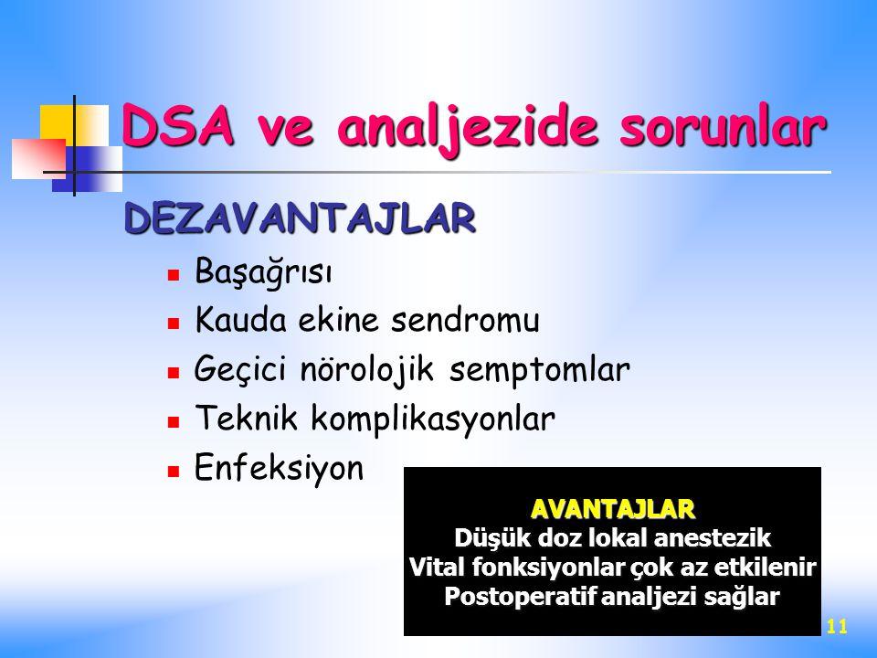 DSA ve analjezide sorunlar
