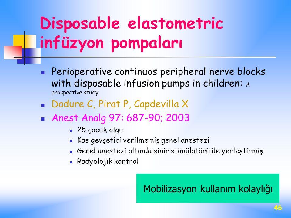 Disposable elastometric infüzyon pompaları