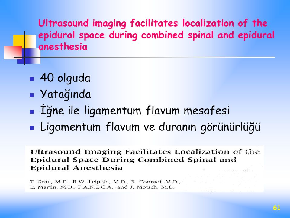 İğne ile ligamentum flavum mesafesi