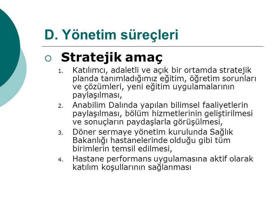 D. Yönetim süreçleri Stratejik amaç