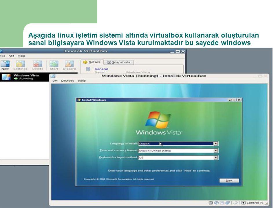 Aşagıda linux işletim sistemi altında virtualbox kullanarak oluşturulan sanal bilgisayara Windows Vista kurulmaktadır bu sayede windows vista incelenebilir ve kullanılabilir