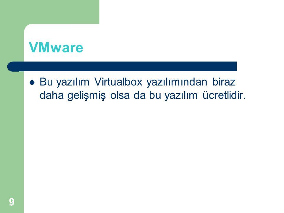 VMware Bu yazılım Virtualbox yazılımından biraz daha gelişmiş olsa da bu yazılım ücretlidir.