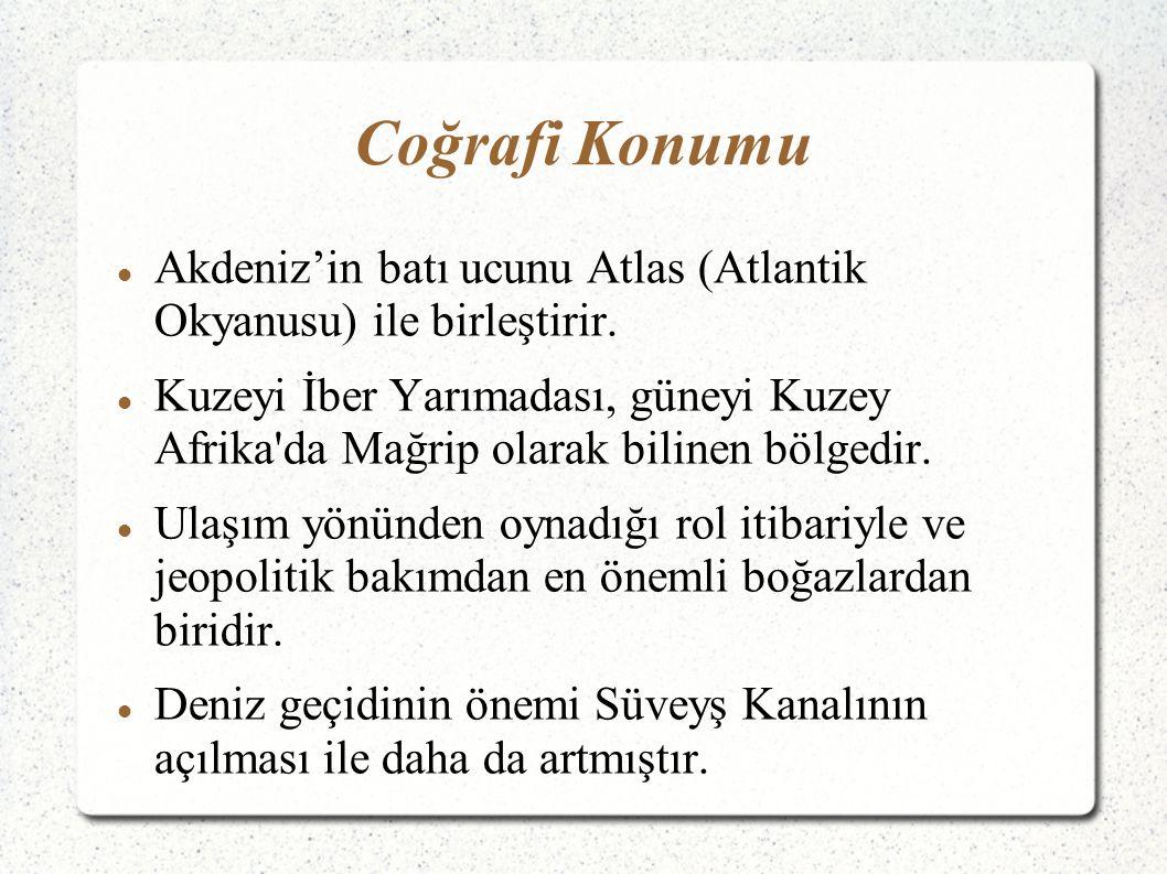 Coğrafi Konumu Akdeniz'in batı ucunu Atlas (Atlantik Okyanusu) ile birleştirir.