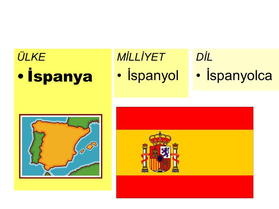 ÜLKE İspanya MİLLİYET İspanyol DİL İspanyolca
