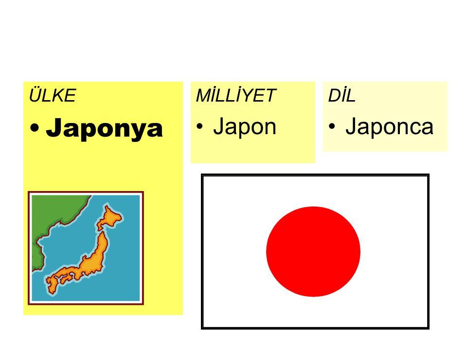 ÜLKE Japonya MİLLİYET Japon DİL Japonca