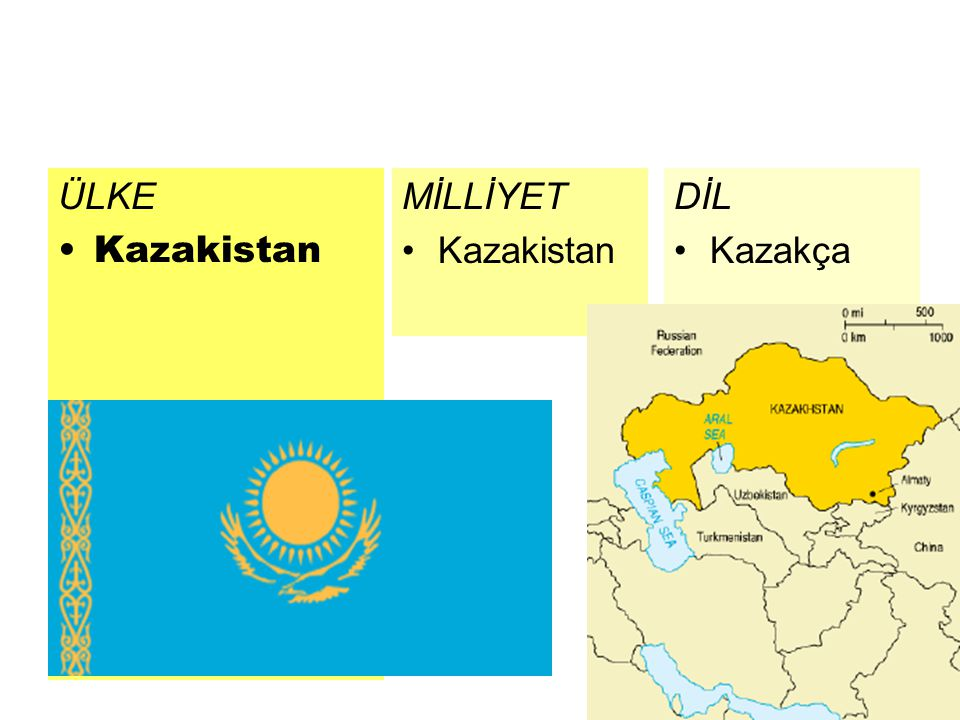 ÜLKE Kazakistan MİLLİYET Kazakistan DİL Kazakça