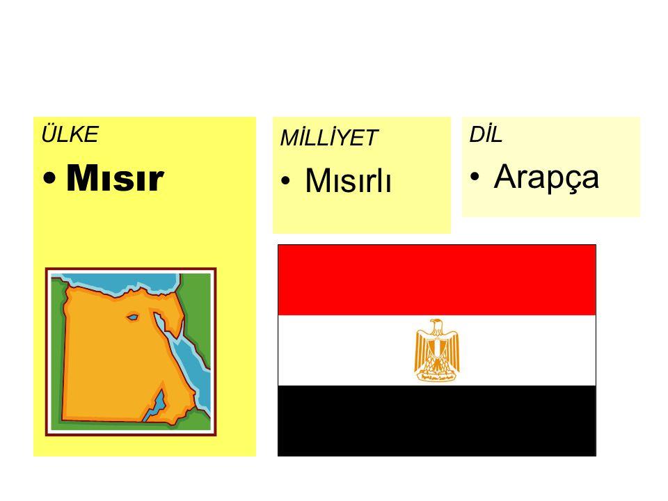 ÜLKE Mısır MİLLİYET Mısırlı DİL Arapça