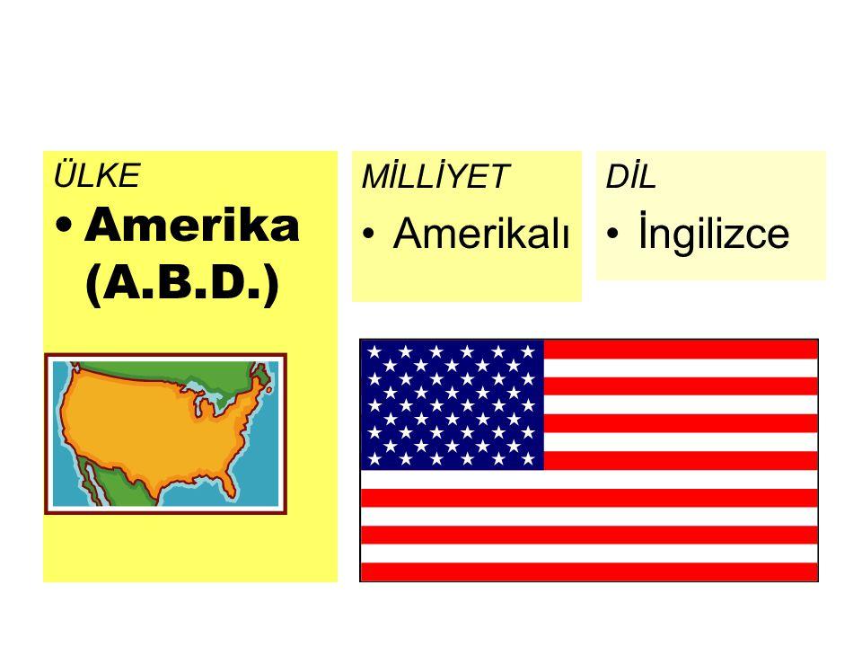 ÜLKE Amerika (A.B.D.) MİLLİYET Amerikalı DİL İngilizce