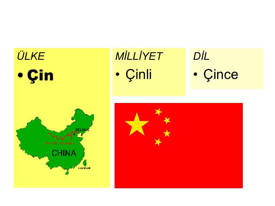 ÜLKE Çin MİLLİYET Çinli DİL Çince