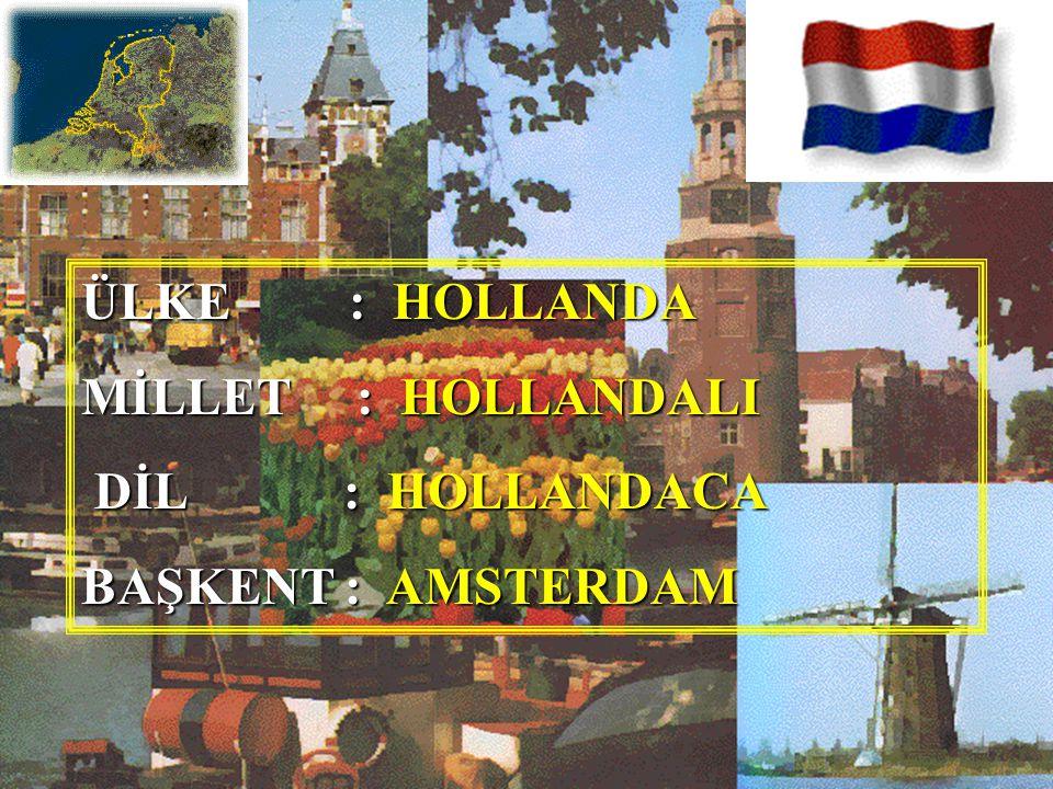 ÜLKE : HOLLANDA MİLLET : HOLLANDALI DİL : HOLLANDACA BAŞKENT : AMSTERDAM