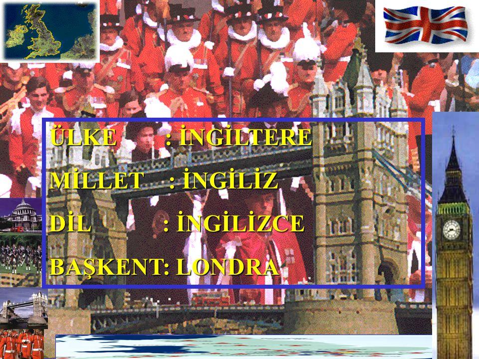 ÜLKE : İNGİLTERE MİLLET : İNGİLİZ DİL : İNGİLİZCE BAŞKENT: LONDRA