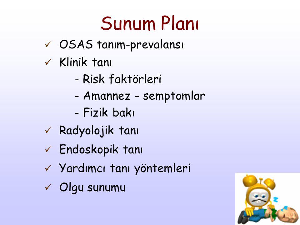 Sunum Planı OSAS tanım-prevalansı Klinik tanı - Risk faktörleri