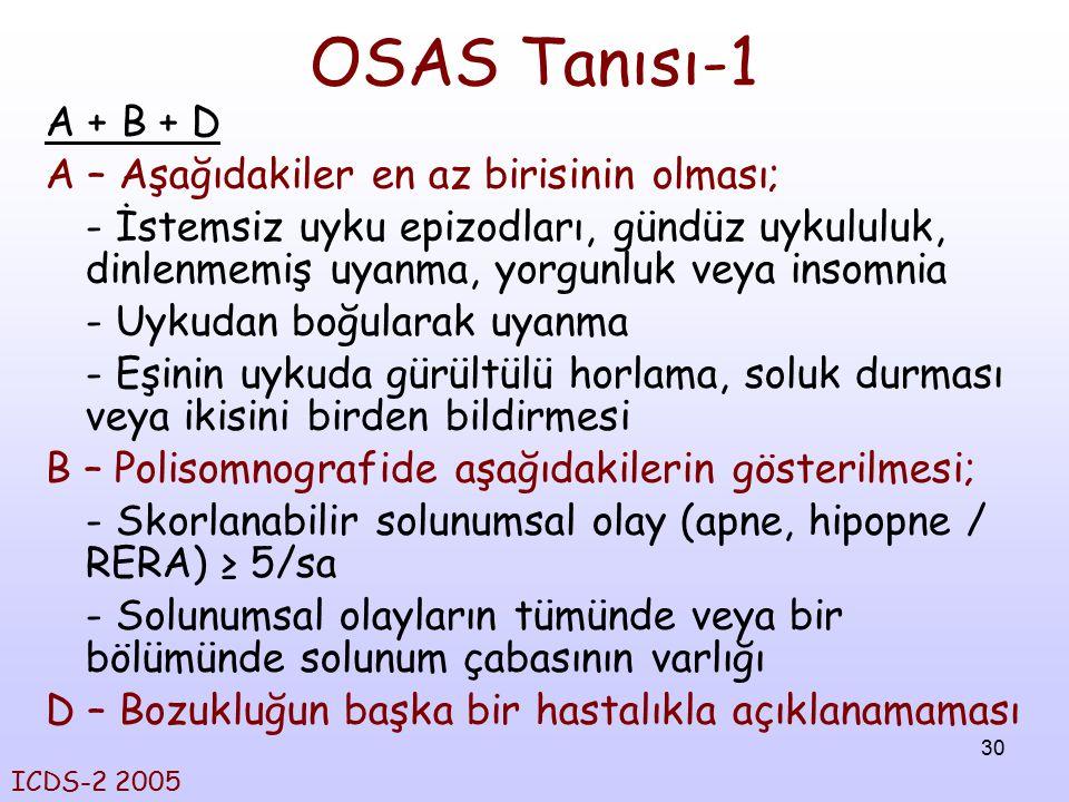 OSAS Tanısı-1 A + B + D A – Aşağıdakiler en az birisinin olması;