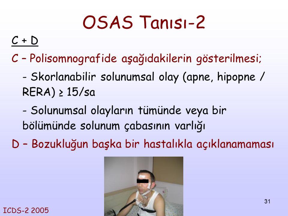 OSAS Tanısı-2 C + D C – Polisomnografide aşağıdakilerin gösterilmesi;