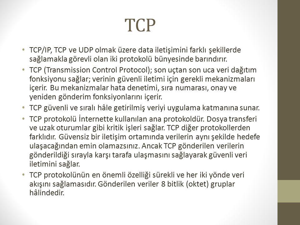 TCP TCP/IP, TCP ve UDP olmak üzere data iletişimini farklı şekillerde sağlamakla görevli olan iki protokolü bünyesinde barındırır.
