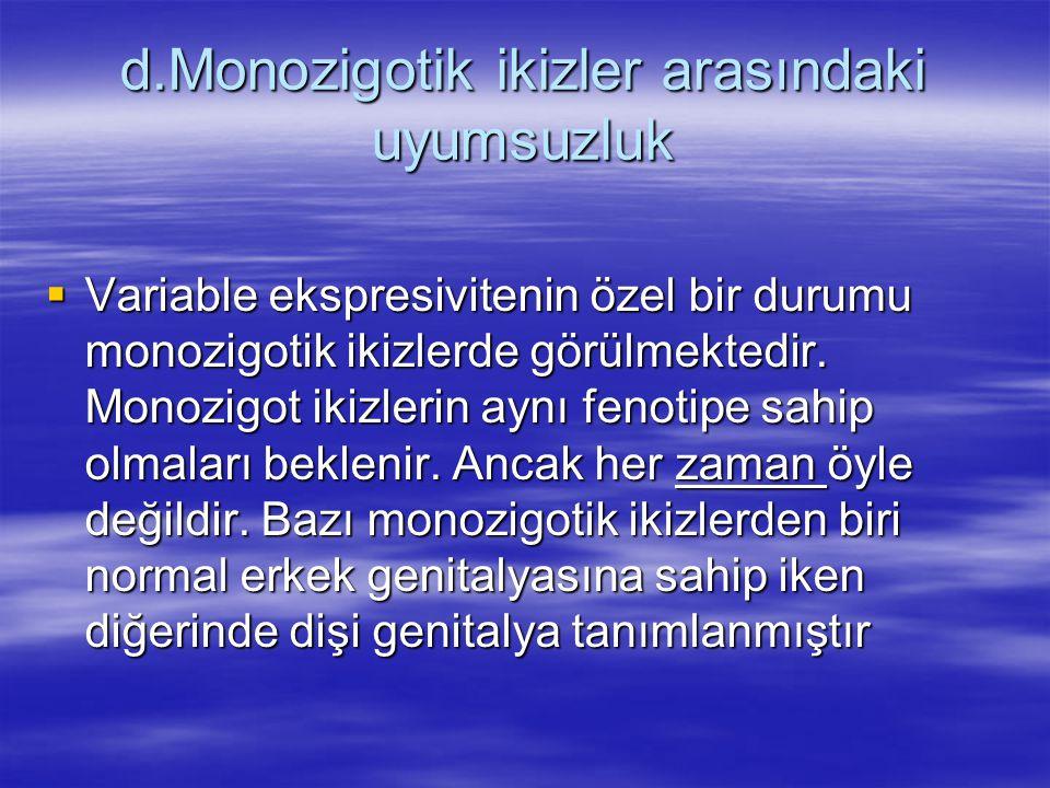 d.Monozigotik ikizler arasındaki uyumsuzluk