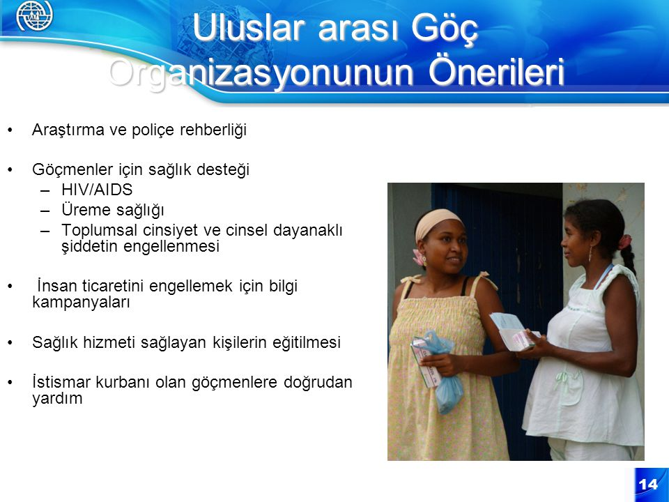 Uluslar arası Göç Organizasyonunun Önerileri