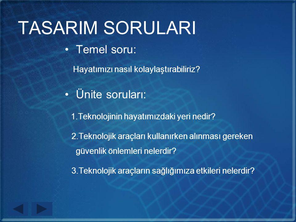 TASARIM SORULARI Temel soru: Ünite soruları: