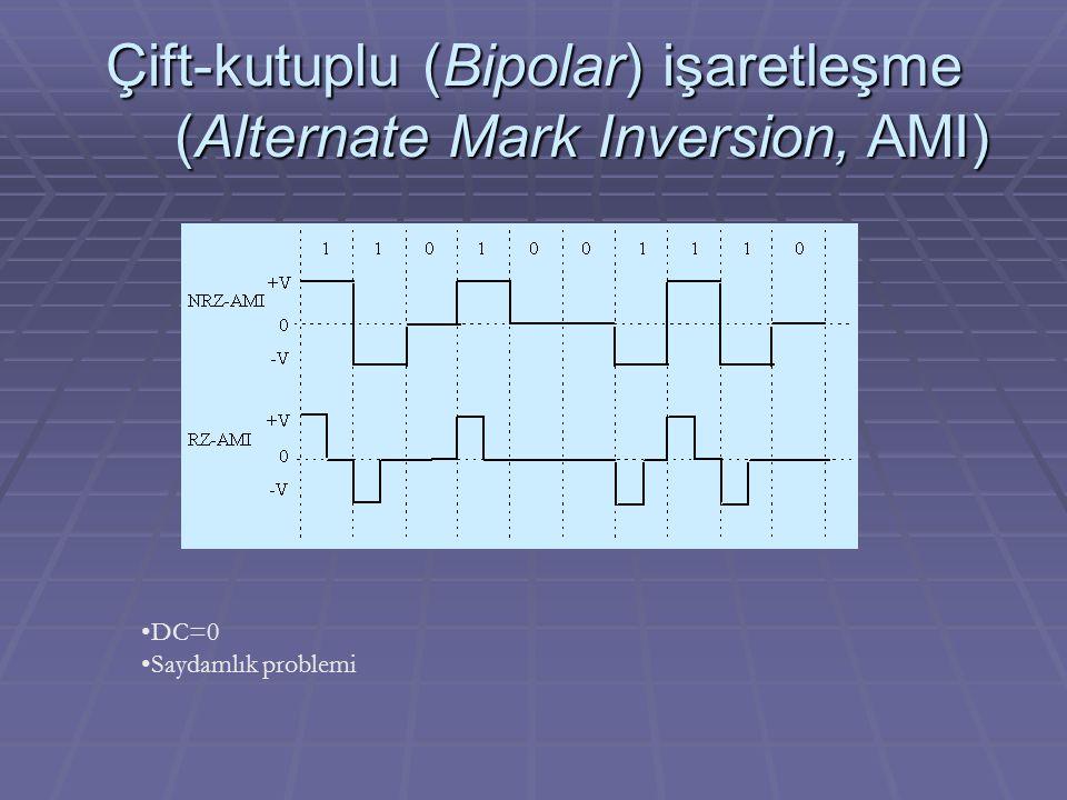 Çift-kutuplu (Bipolar) işaretleşme (Alternate Mark Inversion, AMI)