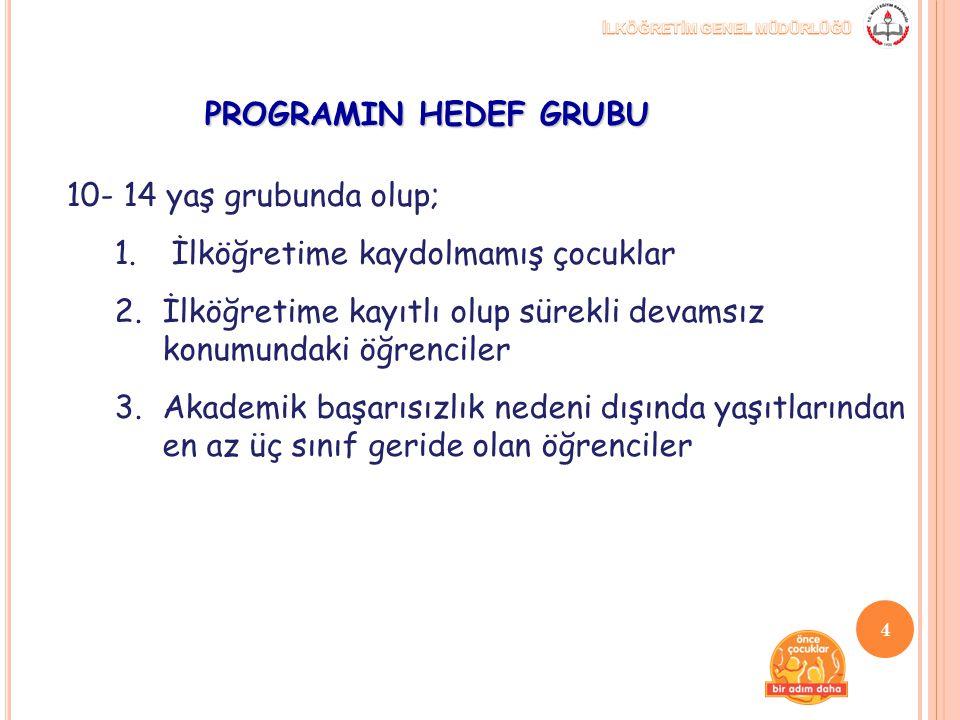 PROGRAMIN HEDEF GRUBU 10- 14 yaş grubunda olup; İlköğretime kaydolmamış çocuklar. İlköğretime kayıtlı olup sürekli devamsız konumundaki öğrenciler.