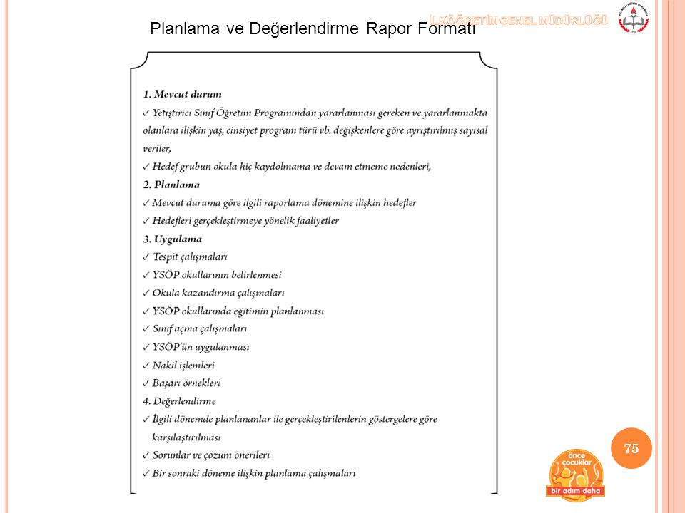 Planlama ve Değerlendirme Rapor Formatı