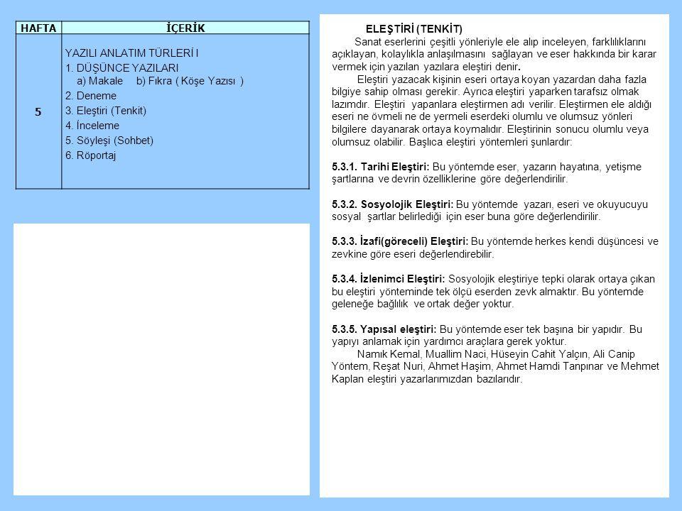 HAFTA İÇERİK. 5. YAZILI ANLATIM TÜRLERİ I. 1. DÜŞÜNCE YAZILARI. a) Makale b) Fıkra ( Köşe Yazısı )