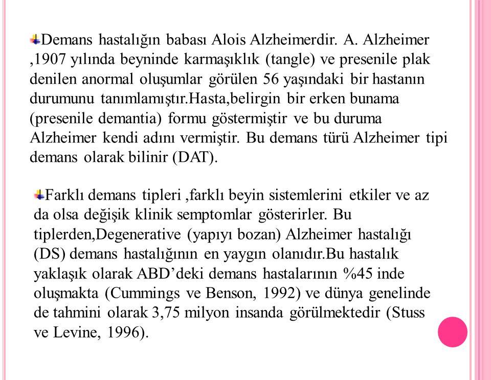 Demans hastalığın babası Alois Alzheimerdir. A