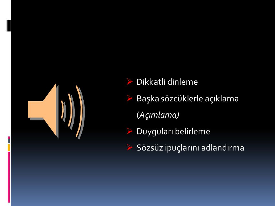 Etkin Dinleme Dikkatli dinleme Başka sözcüklerle açıklama (Açımlama)