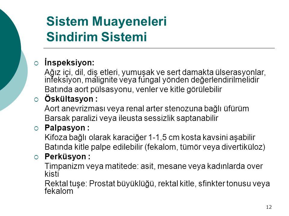 Sistem Muayeneleri Sindirim Sistemi