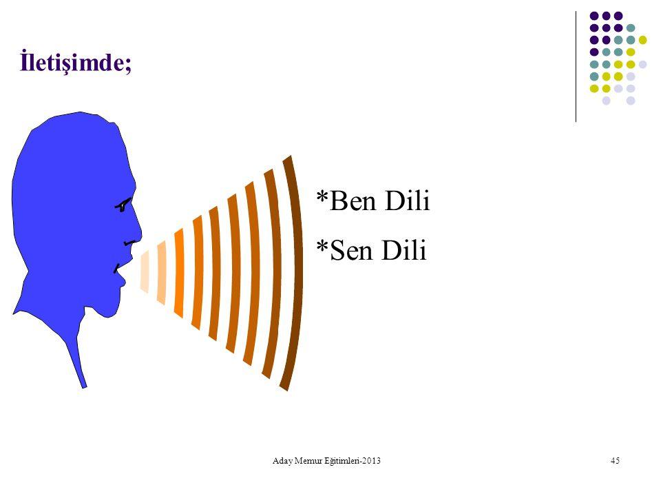 İletişimde; *Ben Dili *Sen Dili Aday Memur Eğitimleri-2013 45