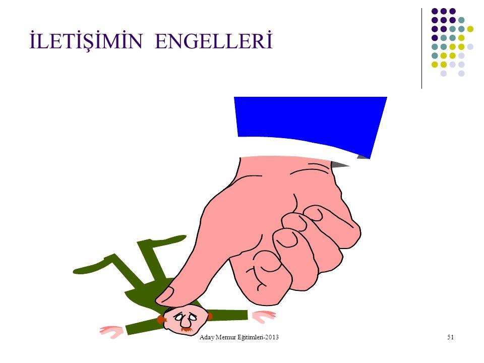 İLETİŞİMİN ENGELLERİ Aday Memur Eğitimleri-2013 51