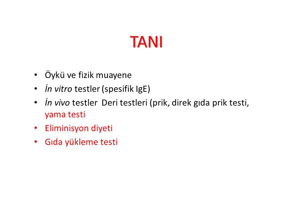 TANI Öykü ve fizik muayene İn vitro testler (spesifik IgE)