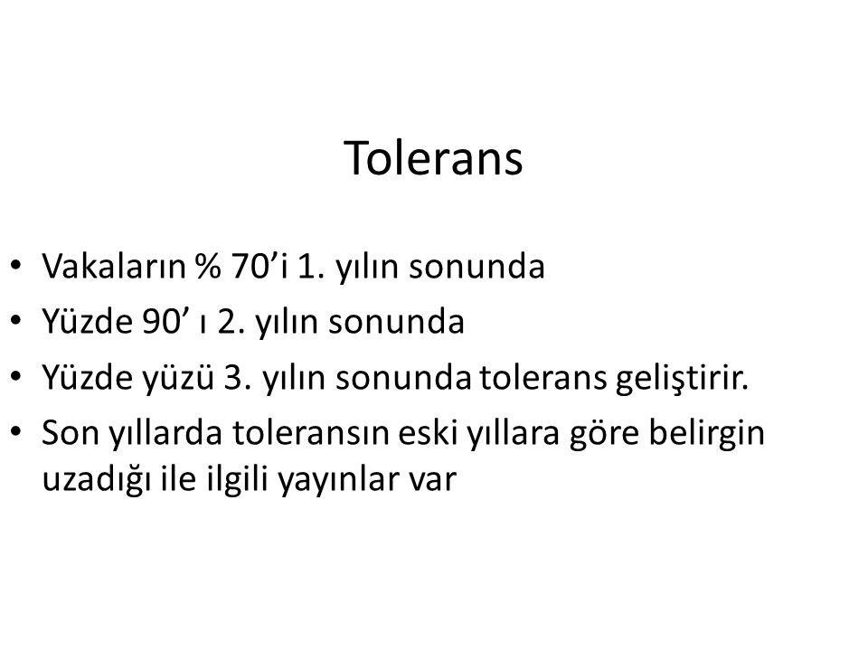 Tolerans Vakaların % 70'i 1. yılın sonunda